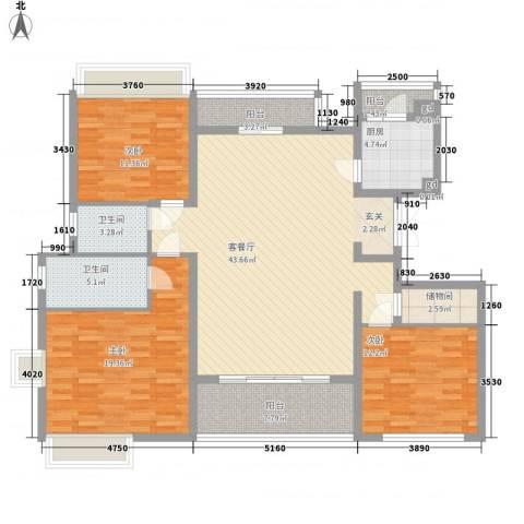 御沁园公寓3室1厅2卫1厨164.00㎡户型图
