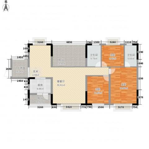 聚龙苑3室1厅2卫1厨136.80㎡户型图