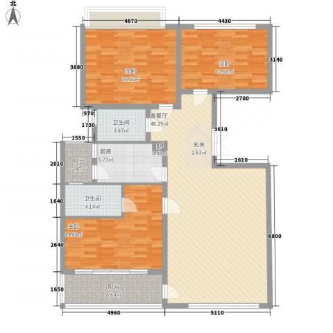 御沁园公寓3室1厅2卫1厨150.00㎡户型图