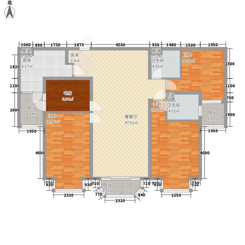 合生国际城181.00㎡合生国际城户型图B户型4室2厅2卫1厨户型4室2厅2卫1厨
