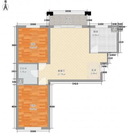 保利海棠花园2室1厅1卫1厨89.00㎡户型图