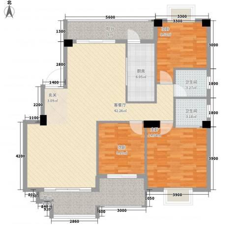 紫金家园3室1厅2卫1厨132.00㎡户型图