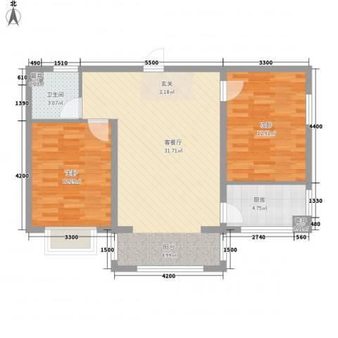 水岸国际2室1厅1卫1厨78.00㎡户型图
