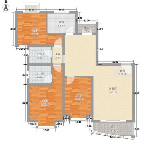 东兰兴城玉兰苑3室1厅2卫1厨124.00㎡户型图