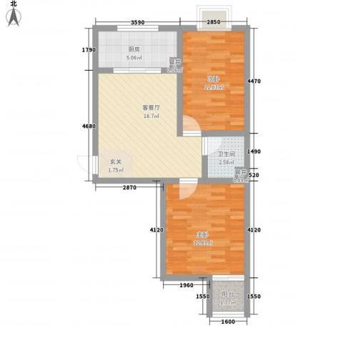朝阳苑2室1厅1卫1厨73.00㎡户型图