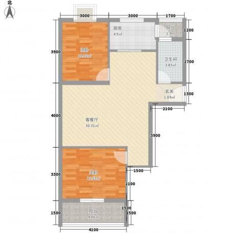 新佳苑2室1厅1卫1厨96.00㎡户型图