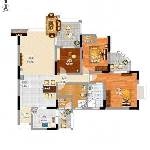 帝豪峰3室1厅1卫1厨160.00㎡户型图