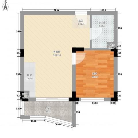 新世纪华庭1室1厅1卫0厨50.00㎡户型图