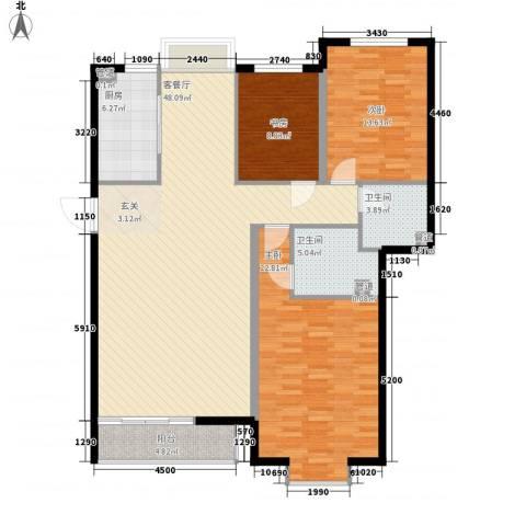 3克拉3室1厅2卫1厨158.00㎡户型图