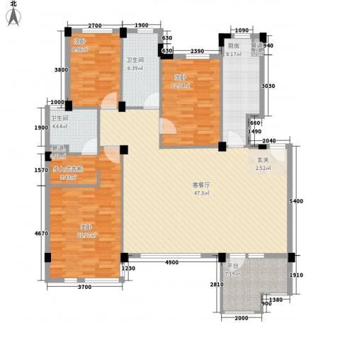 金宝花园3室1厅2卫1厨161.00㎡户型图