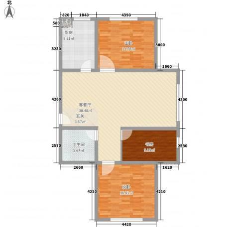 托斯卡纳3室1厅1卫1厨97.00㎡户型图