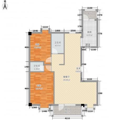 德泰时代广场2室1厅2卫1厨126.00㎡户型图