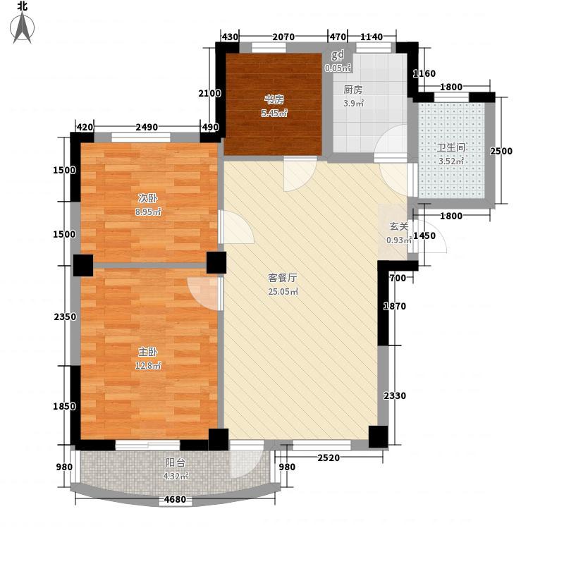 航天花园三期户型图2号楼-C 3室2厅1卫