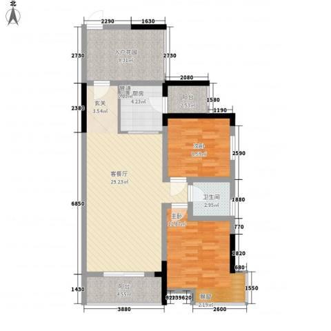 富盈香茶郡2室1厅1卫1厨83.00㎡户型图