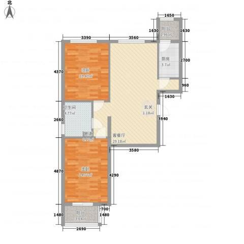 北京御园2室1厅1卫1厨100.00㎡户型图