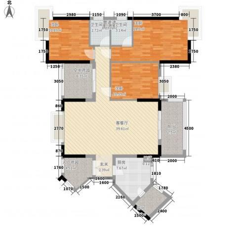 富恒浅水湾3室1厅2卫1厨134.00㎡户型图