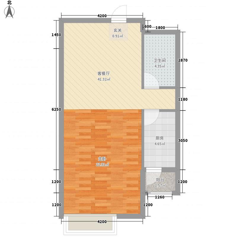 保利香槟国际74.27㎡1、2号楼标准层B5户型1室2厅1卫