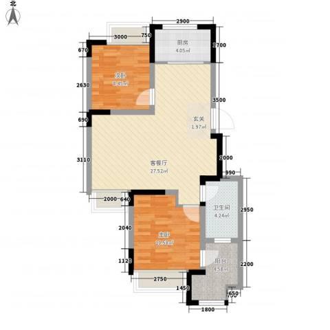 兰亭苑2室1厅1卫1厨83.00㎡户型图