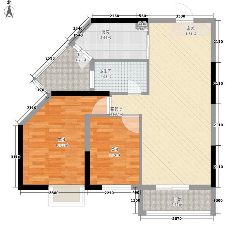 银海城市花园98.00㎡银海城市花园户型图2A2室2厅1卫1厨户型2室2厅1卫1厨