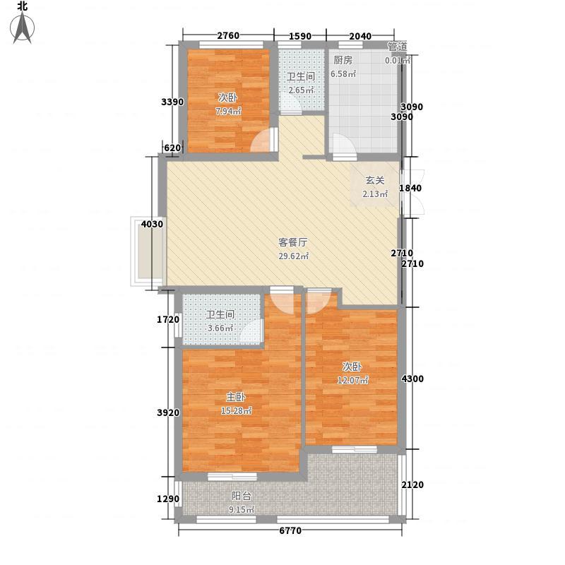 银城聚泽园125.00㎡一期01栋标准层a2户型3室2厅2卫1厨