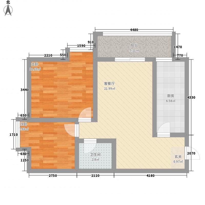 新栋83.00㎡新栋户型图E户型2室2厅1卫1厨户型2室2厅1卫1厨