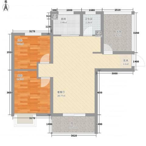 丰朔名仕豪庭2室1厅1卫1厨88.00㎡户型图