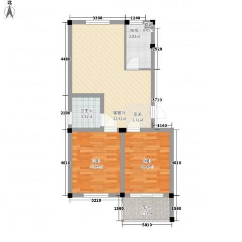 百悦家花园2室1厅1卫1厨78.00㎡户型图