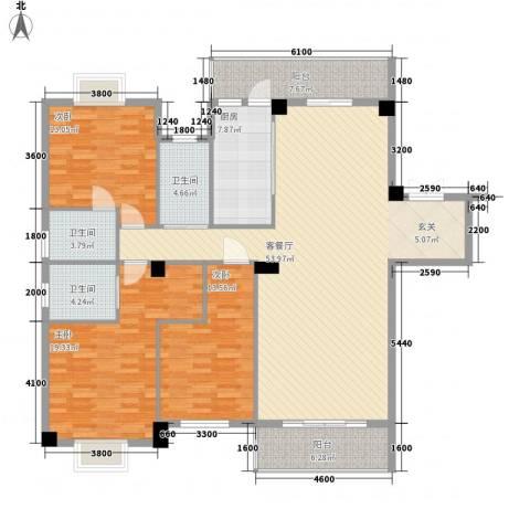 紫金家园3室1厅3卫1厨176.00㎡户型图
