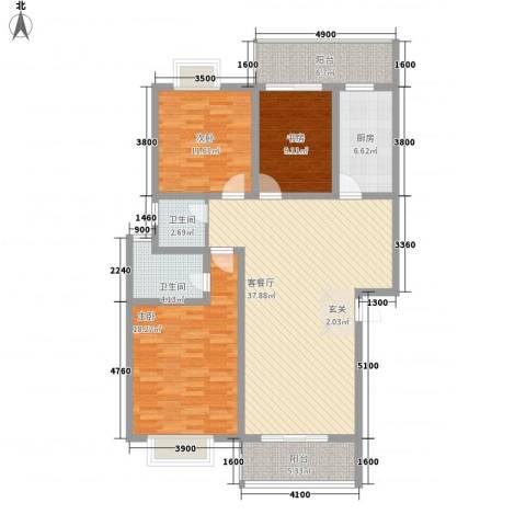 锡澄三村3室1厅2卫1厨102.34㎡户型图