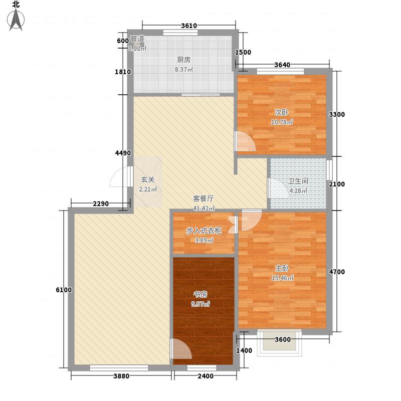 金坤・丽景水岸二期122.64㎡朗苑户型3室2厅1卫1厨