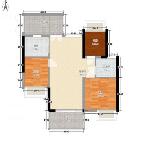 君华香柏广场3室1厅1卫1厨93.00㎡户型图
