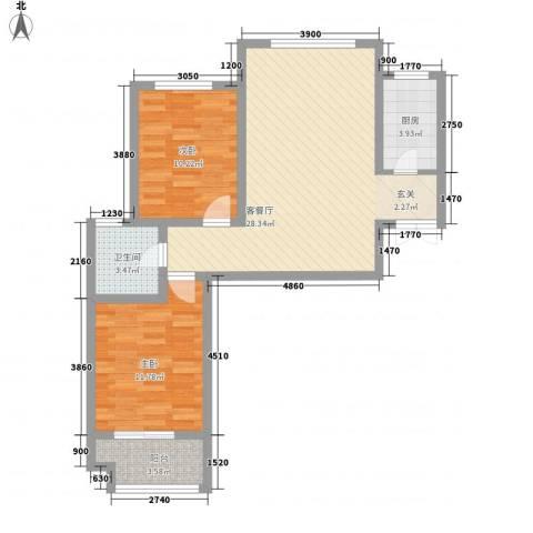 双清别院2室1厅1卫1厨89.00㎡户型图