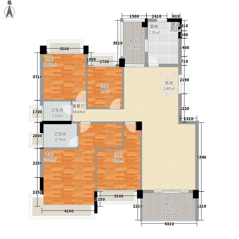 锦绣山河三期159.00㎡锦绣山河三期户型图4栋标准层L1户型4室2厅2卫1厨户型4室2厅2卫1厨