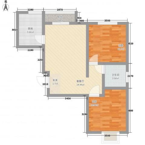 柳湖南苑2室1厅1卫1厨60.00㎡户型图