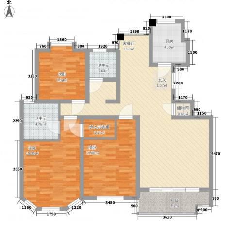 吉祥国际花园3室1厅2卫1厨135.00㎡户型图