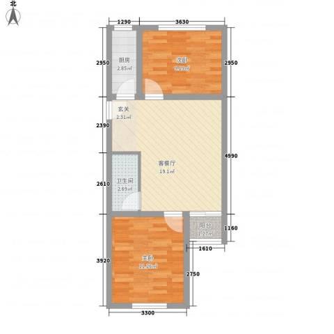 望京西园一区2室1厅1卫1厨67.00㎡户型图