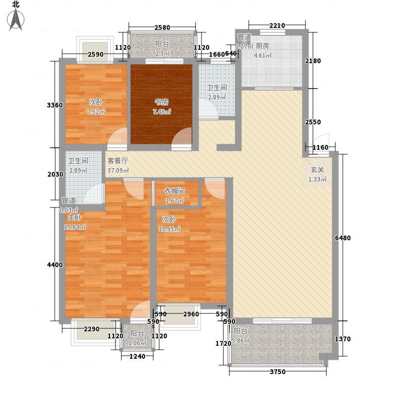 岸上玫瑰144.15㎡岸上玫瑰户型图2C型4室2厅2卫户型10室