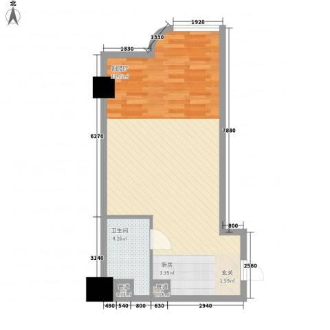 海格国际1厅1卫0厨60.00㎡户型图