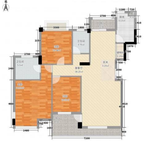 幸福生活3室1厅2卫1厨147.00㎡户型图