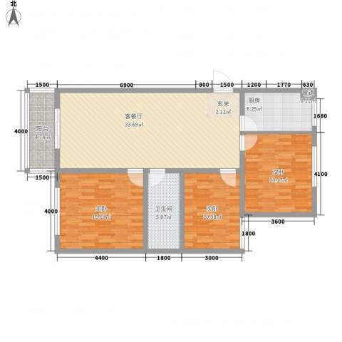 丽华甲第苑3室1厅1卫1厨130.00㎡户型图