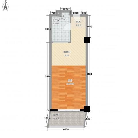 三亚克拉码头1厅1卫0厨66.00㎡户型图
