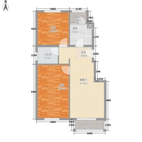 利港银河新城2室1厅1卫1厨120.00㎡户型图