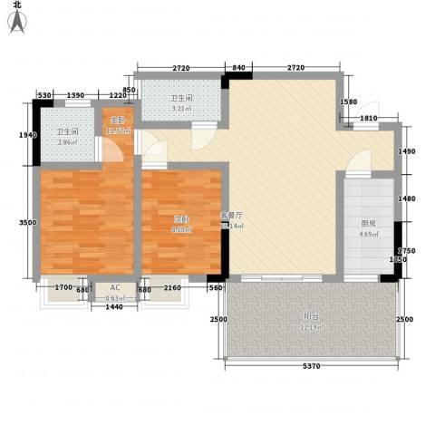 香草山二期2室1厅2卫1厨72.00㎡户型图