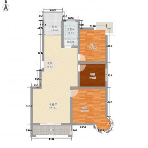 南浦花园3室1厅1卫1厨121.00㎡户型图