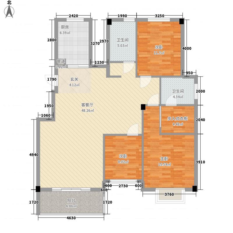 明仕丽庭户型2室2厅2卫1厨