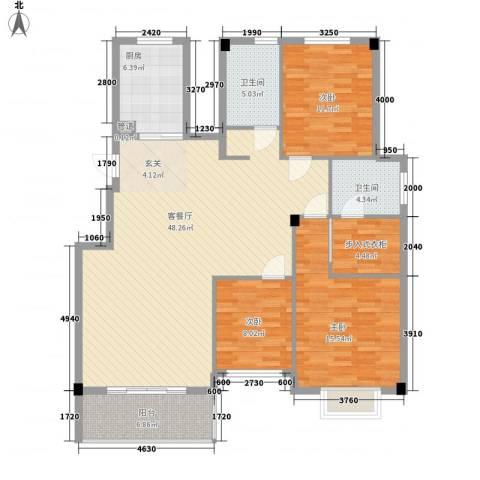 明仕丽庭3室1厅2卫1厨154.00㎡户型图