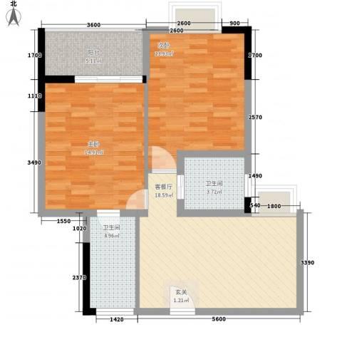 阳光水恋2室1厅2卫0厨87.00㎡户型图