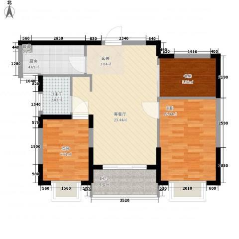 银亿海尚广场3室1厅1卫1厨70.00㎡户型图