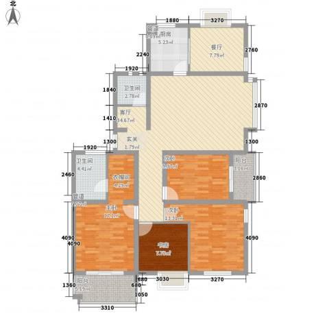 岸上玫瑰4室2厅2卫1厨160.00㎡户型图