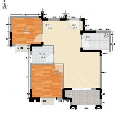 翔鹭香悦四季2室1厅1卫1厨49.93㎡户型图